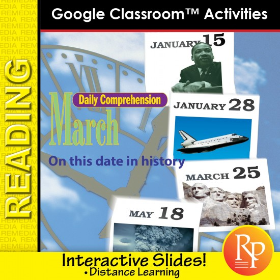 "MARCH - DAILY READING COMPREHENSION ""This Day in History"" Google Slide Lessons"
