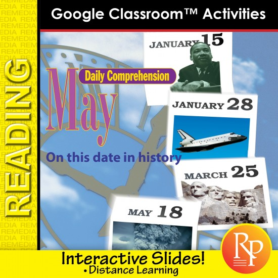 """MAY - DAILY READING COMPREHENSION """"This Day in History"""" Google Slide Lessons"""
