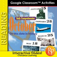 """OCTOBER - DAILY READING COMPREHENSION """"This Day in History"""" Google Slide Lessons"""