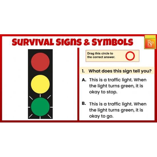 Google Slides: Survival Signs & Symbols Task Cards