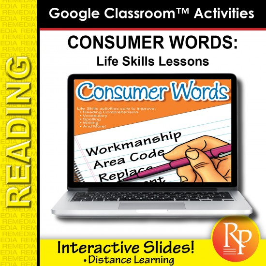 Google Classroom Activities: Consumer Words - Life Skills Lessons