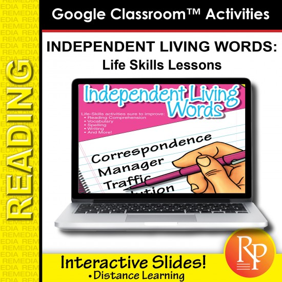 Google Classroom Activities: Independent Living Words - Life Skills Lessons