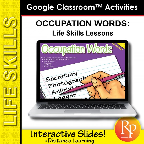 Google Classroom Activities: Occupation Words - Life-Skills Lessons