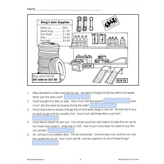 Google Slides: SHOPPING AROUND TOWN (Add Subtract Multiply Divide) Word Problems