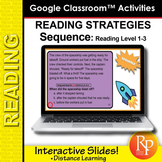 Google Classroom: Reading Strategies Sequence Task Cards
