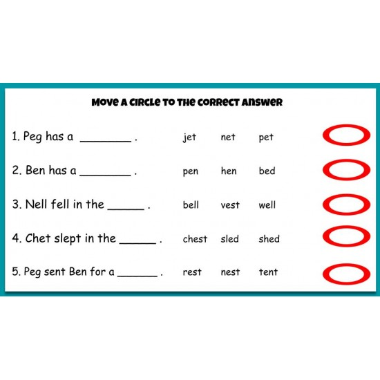 Beginning Phonics Reading - Story & Activities Google Classroom Slides Short e