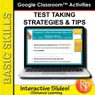 TEST TAKING STRATEGIES & TIPS: 96 Ready-to-use GOOGLE CLASSROOM LESSONS & SLIDES