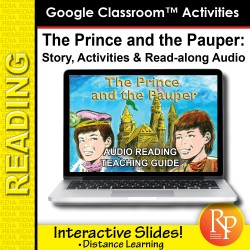 """Google Slides: """"The Prince and The Pauper"""" Abridged Story, Activities & Read-along Audio"""