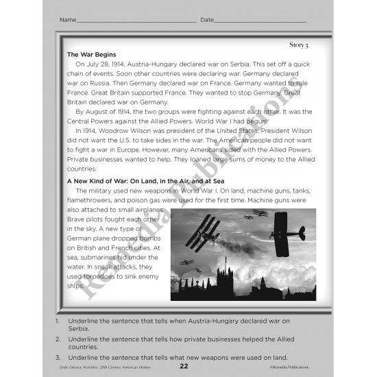 Daily Literacy Activities: 20th Century American History Reading