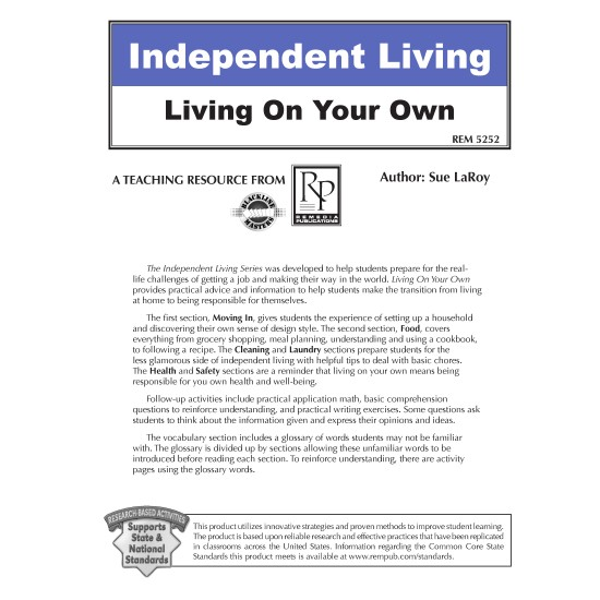 Independent Living: Living On Your Own (Editable Ebook)