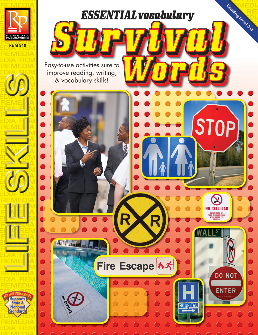 Essential Vocabulary - Life Skills Practice with Survival Signs & Symbols Words by Remedia Publications