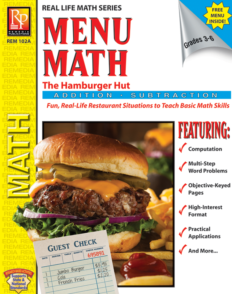 Menu Math - Real Life Math Practice for Addition, Subtraction, & Multiplication